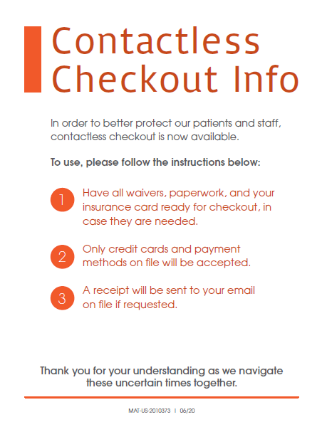 Clinic Guidebook: Contactless Checkout Sign 1
