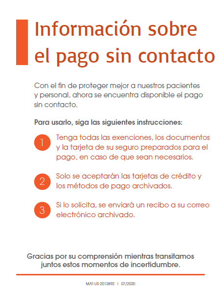 Clinic Guidebook: Contactless Checkout Sign 1 (Spanish)